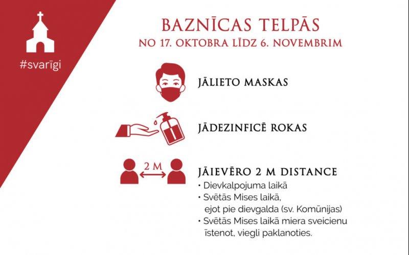 Latvijas Bīskapu konference aicina ievērot sekojošu piesardzību dievkalpojumos