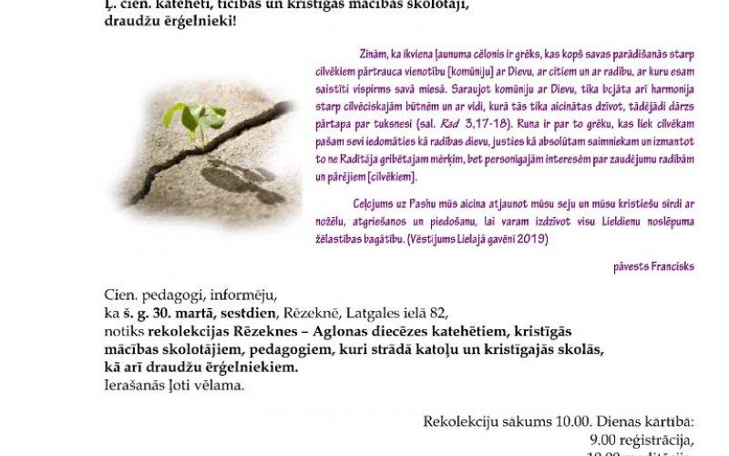 Rekolekcijas Rēzeknes – Aglonas diecēzes katehētiem, kristīgāsmācības skolotājiem, pedagogiem, kuri strādā katoļu un kristīgajās skolās, draudžu ērģelniekiem